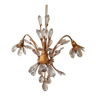 1940s French Hollywood Regency Cut Crystal Floral Form Chandelier Attrib. Maison Bagues For Sale