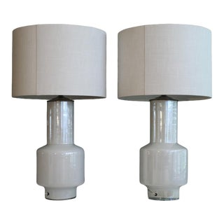 Pair OF Iridescent Murano Table Lamps. For Sale