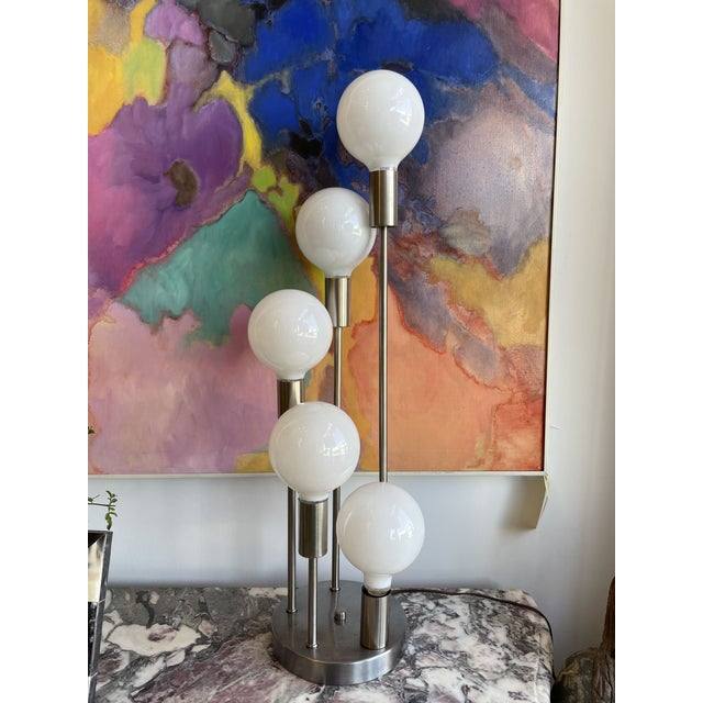 1970s Mid Century Modern Robert Sonneman Waterfall 5-Globe Lamp For Sale - Image 10 of 10