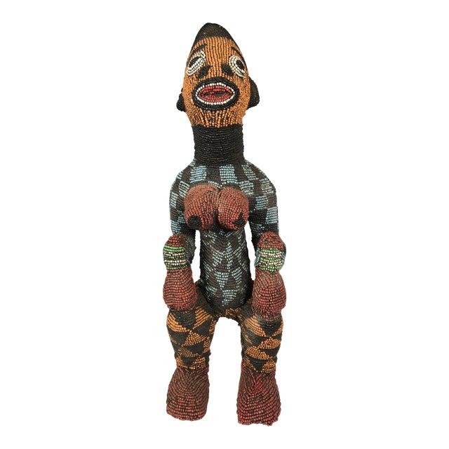 African Tribal Bamileke Beaded Statue For Sale