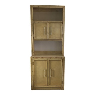 Asian Yellow Bamboo Cabinet For Sale