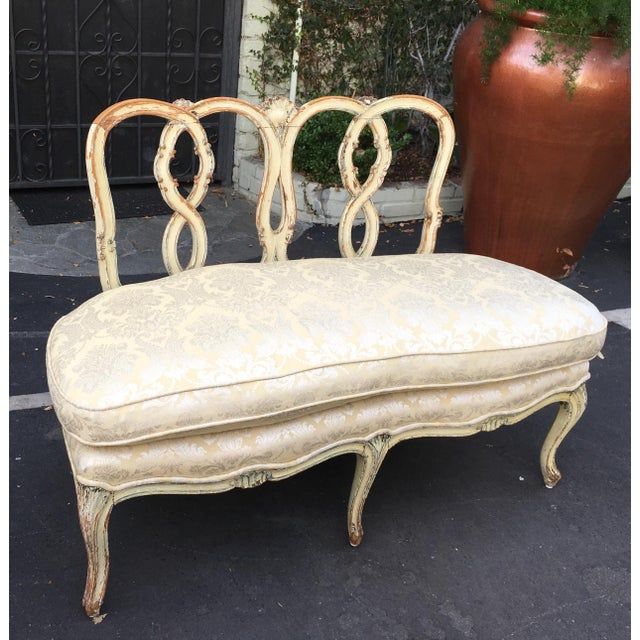 Superb Antique Paint Decorated Ribbon Back Settee - Image 3 of 6