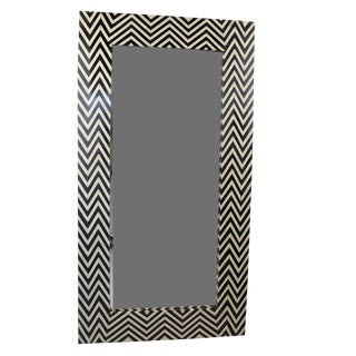 Moroccan Black & White Bone Inlay Mirror - Chevron Pattern For Sale