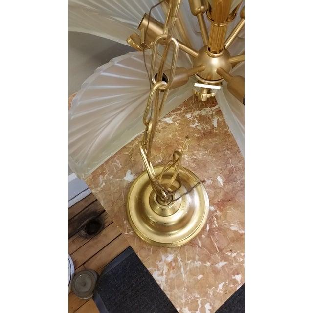 Art Deco Italian Brass & Satin Glass Chandelier - Image 8 of 11
