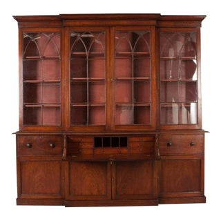 English Mahogany 19th Century Georgian Breakfront Bookcase | Desk