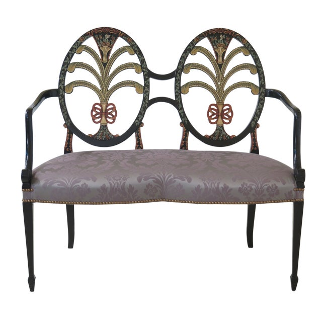 Hepplewhite Paint Decorated Double Settee Bench For Sale