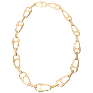 Sculptural Gold Plated Large Link Necklace Attributed Alexis Kirk For Sale