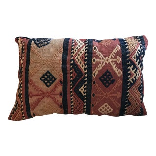 Antique Wool Kilim Pillow With Velvet Backing