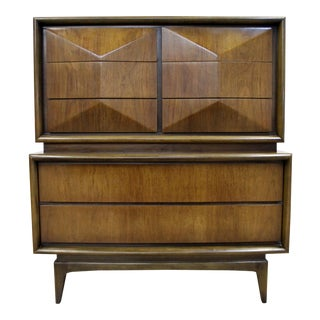 Mid-Century Modern United Diamond Front Walnut Tall Chest of Drawers For Sale