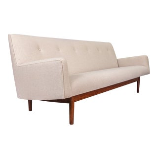 Mid-Century Walnut Tufted Ivory Sofa For Sale