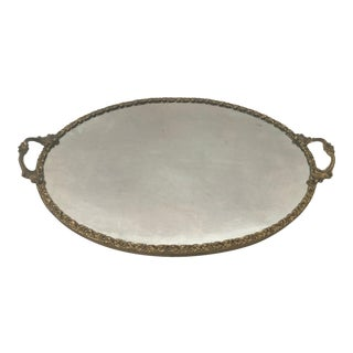 Oval Make Up Tray Gold Brass Finish Grape Leaf Detail For Sale