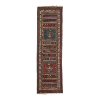 Vintage Turkish Kilim Runner with Tribal Style, Flat-Weave Hallway Runner