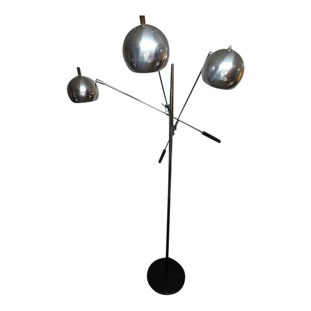 1960s Mid-Century Modern Robert Sonneman Chrome Triennale Atomic Orbiter Floor Lamp For Sale