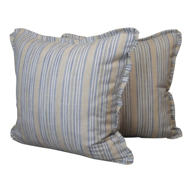 Pindler Throw Pillows in Miranda Linen Print - a Pair For Sale