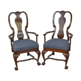 Queen Anne Style Solid Mahogany Ball & Claw Foot Arm Chairs - A Pair