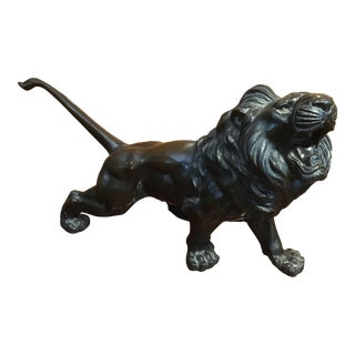 Late 19th Century Japanese Bronze of a Prowling Lion For Sale
