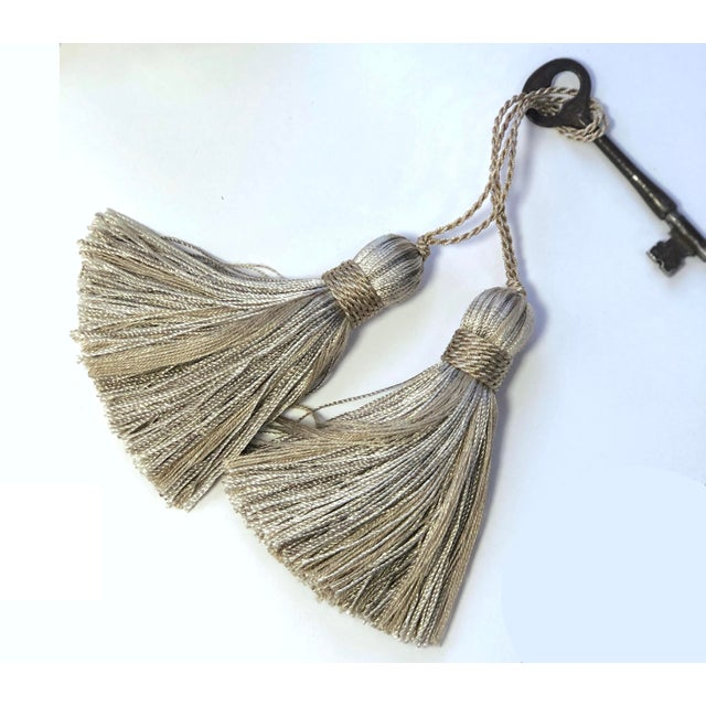 Contemporary Petite Natural Color Tassels - a Pair For Sale - Image 3 of 10