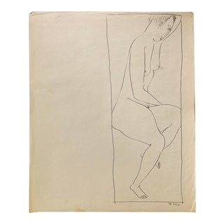 """Donald Stacy """"Hand Over Head I"""" C 1950s Ink Nude Mid Century Drawing For Sale"""
