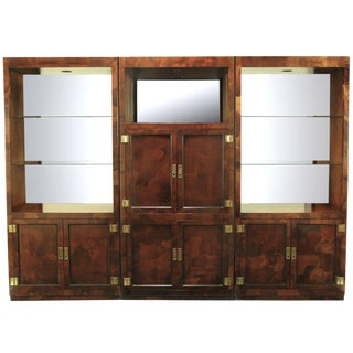Trio of Hekman Tall Campaign Cabinets in Patchwork Burl For Sale