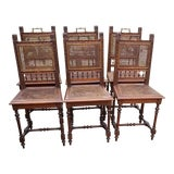 Image of Early 20th Century Antique Cane Chairs- Set of 6 For Sale