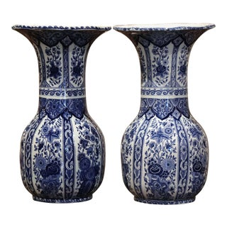 Pair of Mid-20th Century Dutch Royal Blue and White Painted Faience Delft Vases For Sale