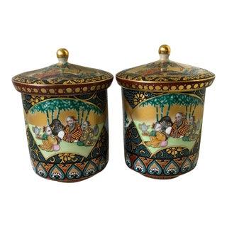 Antique Meiji Period Japanese Porcelain Imari Lidded Teacups - a Pair For Sale