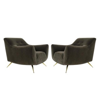 Henry Glass Lounge Chairs in Mohair - a Pair For Sale