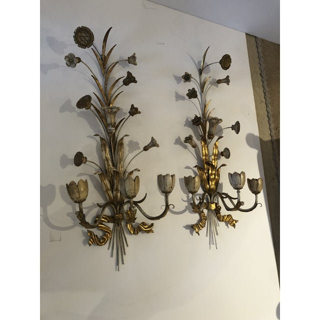 Gold Gilt Iron Carved Wood French Tulip Motife Candle Sconces -Pair For Sale - Image 9 of 13