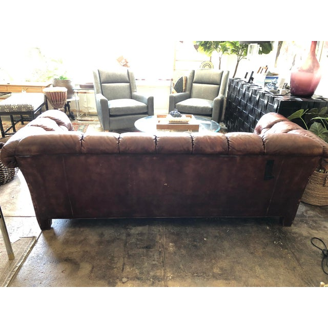 Vintage Cognac Brown Leather Chesterfield Sofa For Sale - Image 4 of 9