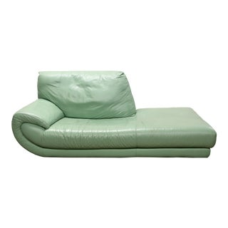 1980s Nicoletti Mint Green Modern Italian Leather Day Bed Chaise For Sale