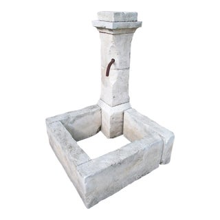 Carved Limestone Corner Fountain from France For Sale