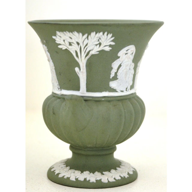 Antique Wedgwood Jasperware Vase White on Green Classic Miniature - Image 5 of 9