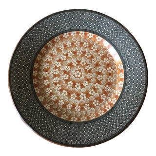 Mid-Century Modern Gray and Apricot Pottery Platter