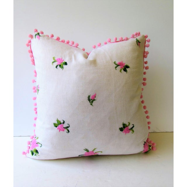 Vintage Pink Rose Embroidery Pillow Cover - Image 6 of 6