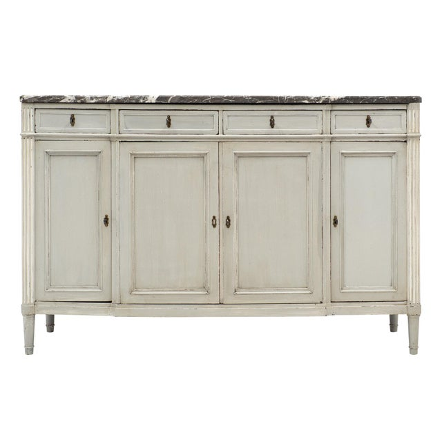 Painted Louis XVI Style Buffet With Marble Top For Sale - Image 11 of 11