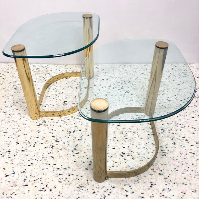 Pace collection brass plated side tables with thick half inch glass top. Great for flanking a sofa. Unusual diamond shape....