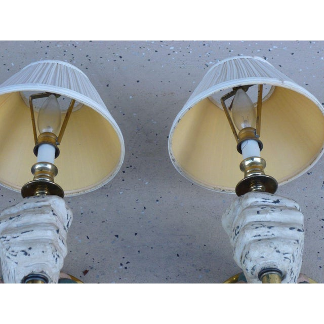 1970s Mid-Century Modern Carved Wood Sconces - a Pair For Sale - Image 4 of 7