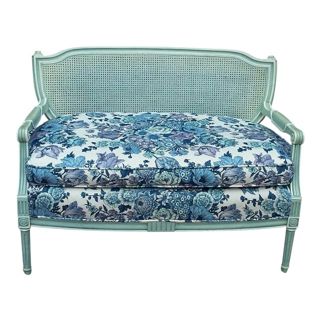 French Cane Back Settee For Sale