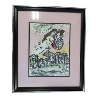 Marc Chagall Vintage Lovers Lithograph, Beautiful, Framed Professionally For Sale