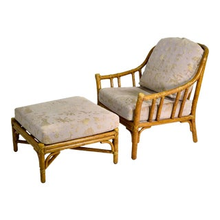 1970s McGuire Rattan Bamboo Lounge Arm Chair With Ottoman For Sale