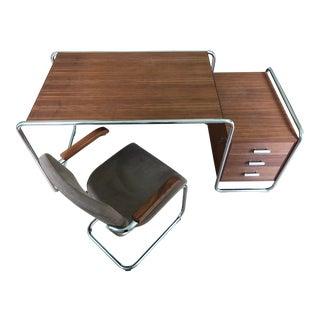 Thonet Tubular Steel & Walnut Wood Desk & Chair For Sale