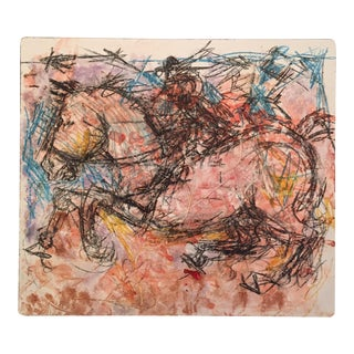 Expressionism Equus Wild Horse Drawing For Sale
