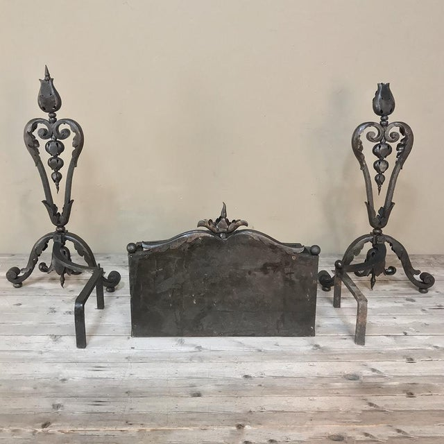 19th Century Wrought Iron Andiron & Firebox Set For Sale - Image 11 of 12