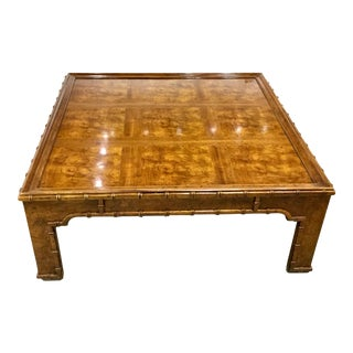 Vintage Faux Bamboo and Burlwood CoffeeTable For Sale