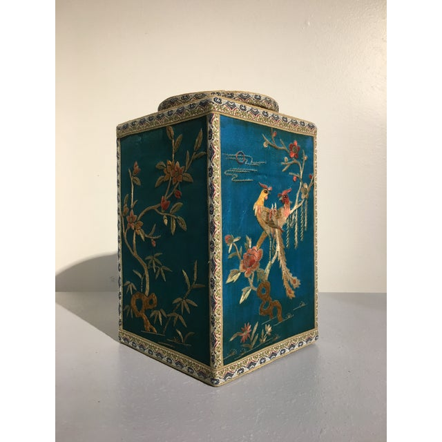 Chinoiserie Silk Embroidered Tea Caddy, circa 1920's For Sale In Austin - Image 6 of 9