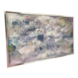 1980s Postmodern Pastel Abstract Oil Painting, Framed For Sale