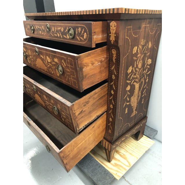 Early 19th Century Dutch Hardwood Inlaid Four Drawer Chest For Sale - Image 9 of 13