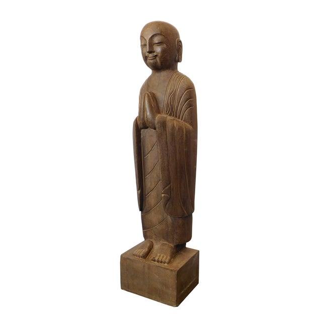 Chinese Monk Lohon Stone Statue - Image 3 of 7