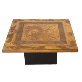 Etched Brass Coffee Table Signed by Christian Krekels, C. 1977 For Sale