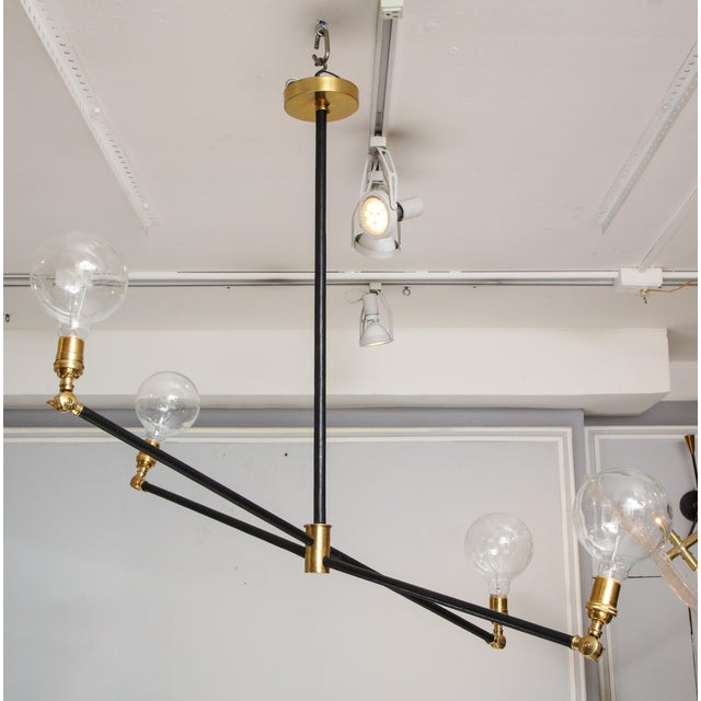 Mid-Century Modern Sculptural Custom Leather and Brass Four-Arm Fixture With Articulating Arms For Sale - Image 3 of 13